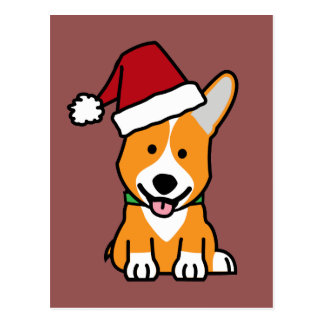Corgi dog puppy Pembroke Welsh Christmas Santa hat Postcard