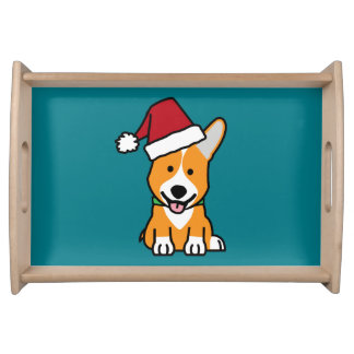 Corgi dog puppy Pembroke Welsh Christmas Santa hat Serving Tray