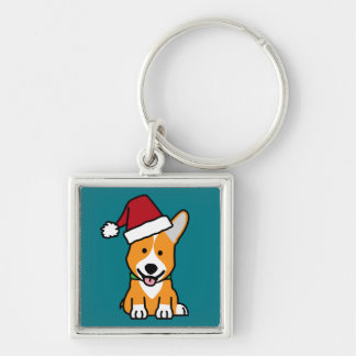 Corgi dog puppy Pembroke Welsh Christmas Santa hat Silver-Colored Square Keychain