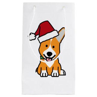 Corgi dog puppy Pembroke Welsh Christmas Santa hat Small Gift Bag