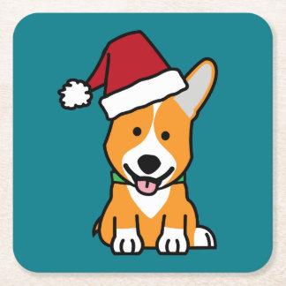Corgi dog puppy Pembroke Welsh Christmas Santa hat Square Paper Coaster