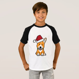 Corgi dog puppy Pembroke Welsh Christmas Santa hat T-Shirt