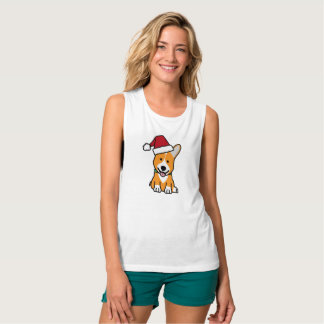 Corgi dog puppy Pembroke Welsh Christmas Santa hat Tank Top