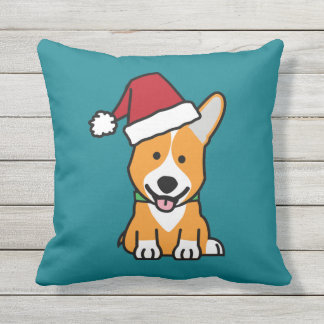 Corgi dog puppy Pembroke Welsh Christmas Santa hat Throw Pillow
