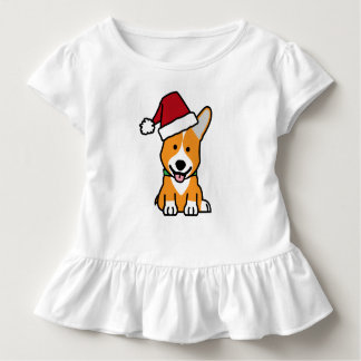 Corgi dog puppy Pembroke Welsh Christmas Santa hat Toddler T-shirt