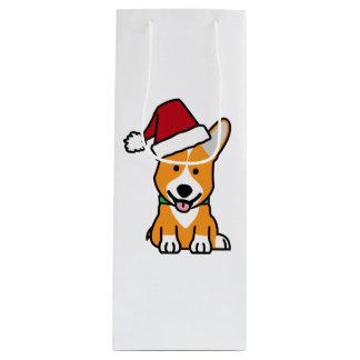 Corgi dog puppy Pembroke Welsh Christmas Santa hat Wine Gift Bag