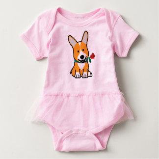 Corgi dog puppy Pembroke Welsh Valentine Rose Baby Bodysuit