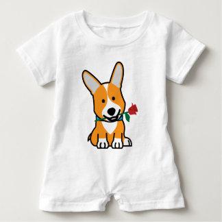 Corgi dog puppy Pembroke Welsh Valentine Rose Baby Romper
