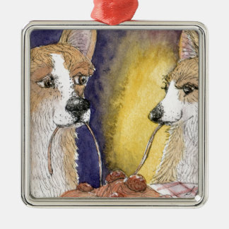 Corgi dogs eating spaghetti and meatballs metal ornament