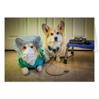 Corgi Dr and nurse Feel Better Soon Card