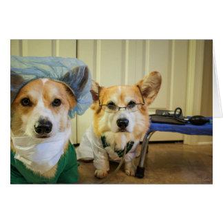 Corgi Dr and Nurse Rest and Feel Better Soon Card