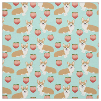 Corgi Emoji Fabric - cute peach corgis butts