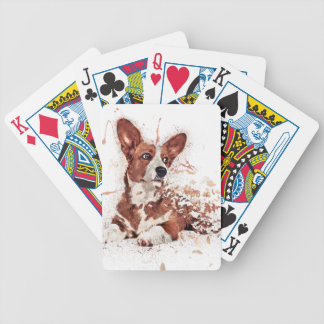 Corgi feather bicycle playing cards