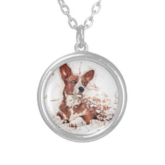 Corgi feather silver plated necklace