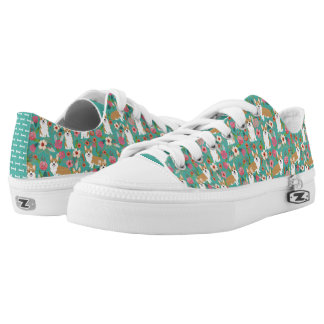 Corgi floral fabric  - turquoise Low-Top sneakers