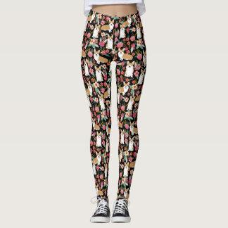 Corgi Floral leggings - black