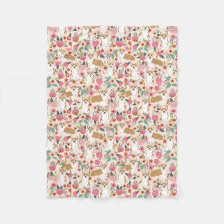 Corgi florals blanket - cream