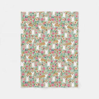 Corgi florals blanket - mint