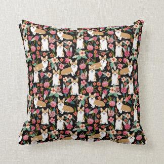 Corgi Florals pillow - black