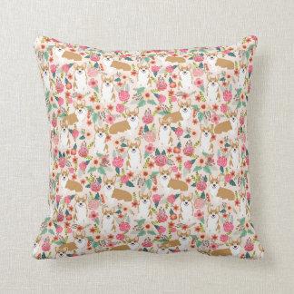 Corgi Florals pillow - cream