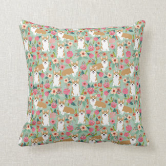 Corgi Florals pillow - mint