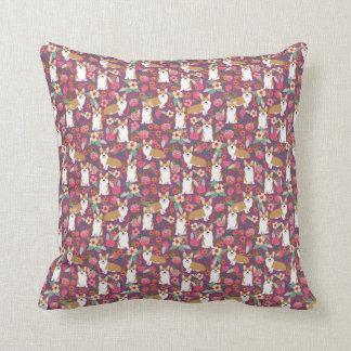 Corgi Florals pillow - purple