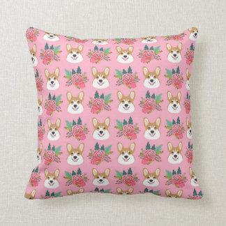 Corgi Florals -pink Throw Pillow