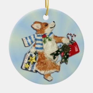 Corgi Holiday Shopper Ornament
