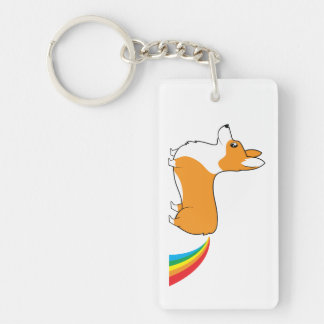 Corgi illustration rainbow poop keychain
