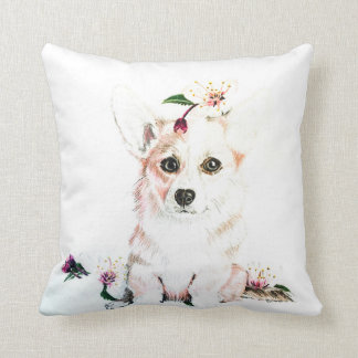 Corgi In Bloom Throw Pillow
