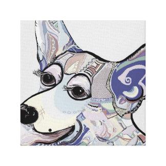 Corgi in Denim Colors Canvas Print