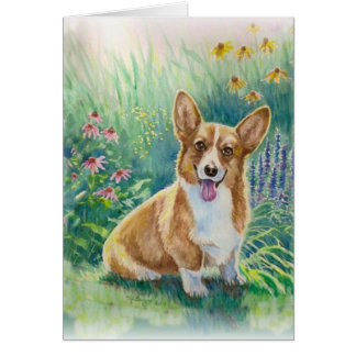 Corgi in the Garden Card