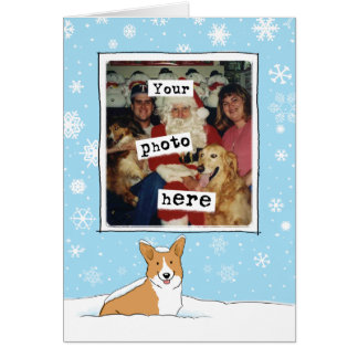 Corgi in the Snow - Cute Holiday Photo Template