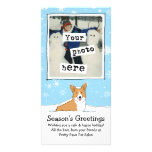 Corgi in the Snow Holiday with Custom Text Photo Card Template