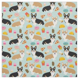 Corgi Junk Food Fabric - cute corgis design