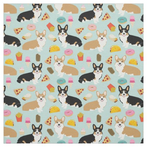 Corgi Junk Food Fabric - cute corgis design