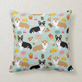 Corgi Junk Food Throw Pillow - cute corgi gift