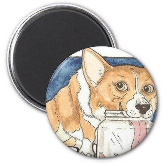 Corgi licking the Peanut Butter Jar Magnet