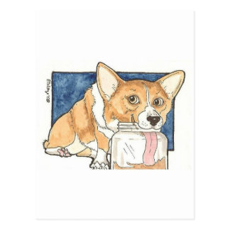 Corgi licking the Peanut Butter Jar Postcard