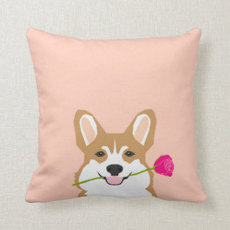 Corgi Love with Pink Rose for Valentines Day Gift Throw Pillow