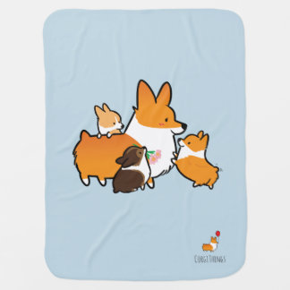 Corgi Mom and Puppies Blue Baby Blanket