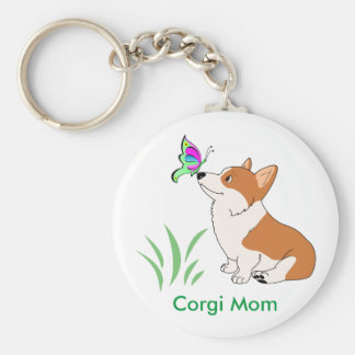 Corgi Mom with Butterfly Basic Round Button Keychain