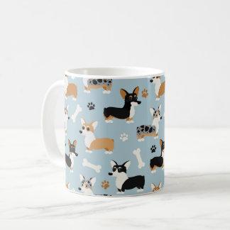 Corgi Pattern Blue Coffee Mug