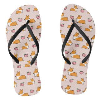 Corgi Peach Sploot Flip Flops