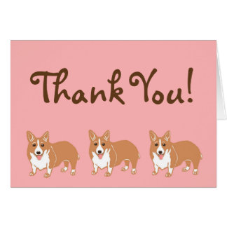 Corgi Pink and Brown Thank You Card