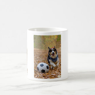 Corgi Playing Soccer Coffee Mug