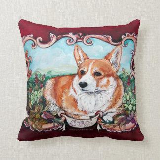 Corgi Portrait by Cherry O'Neill Throw Pillow