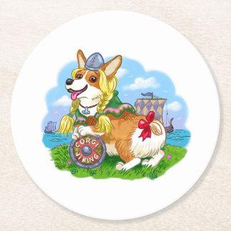 Corgi Princess Round Paper Coaster