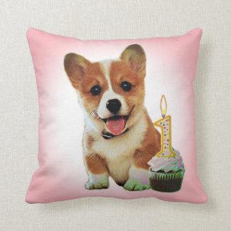Corgi puppy and first birthday cupcake throw pillow