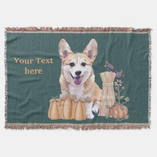 Corgi Puppy in Autumn Throw Blanket